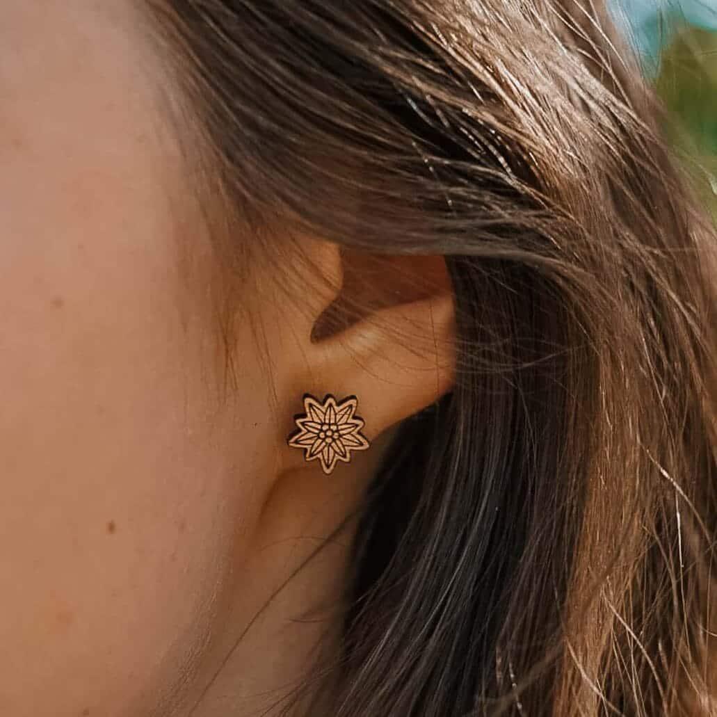 Clous d'oreilles en bois Edelweiss