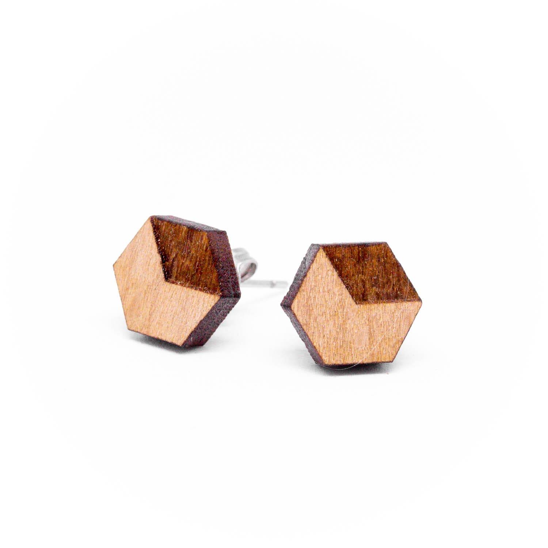 Clous d'oreilles en bois géométrique Tridy