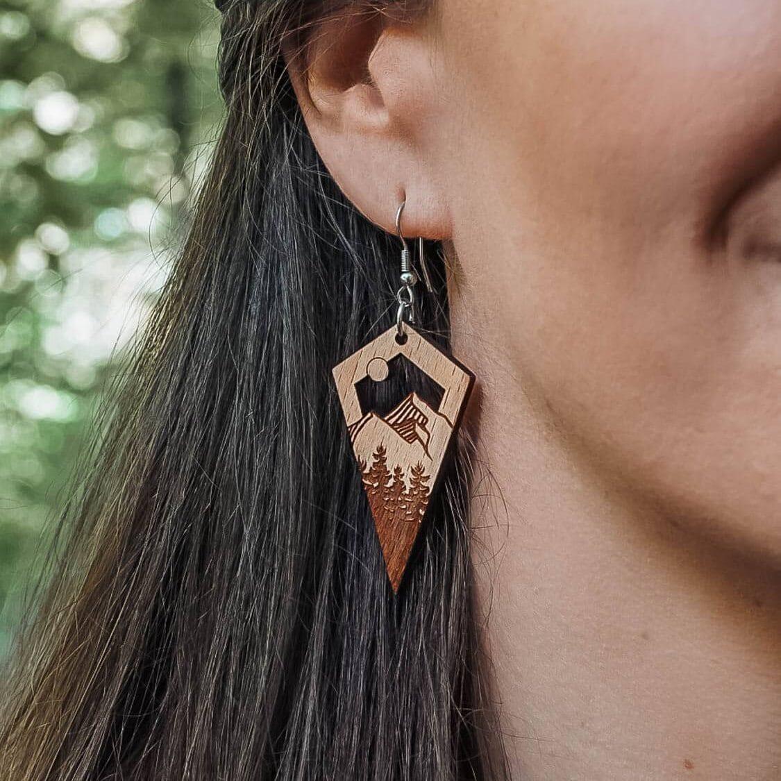 Boucles d'oreilles en bois Lao