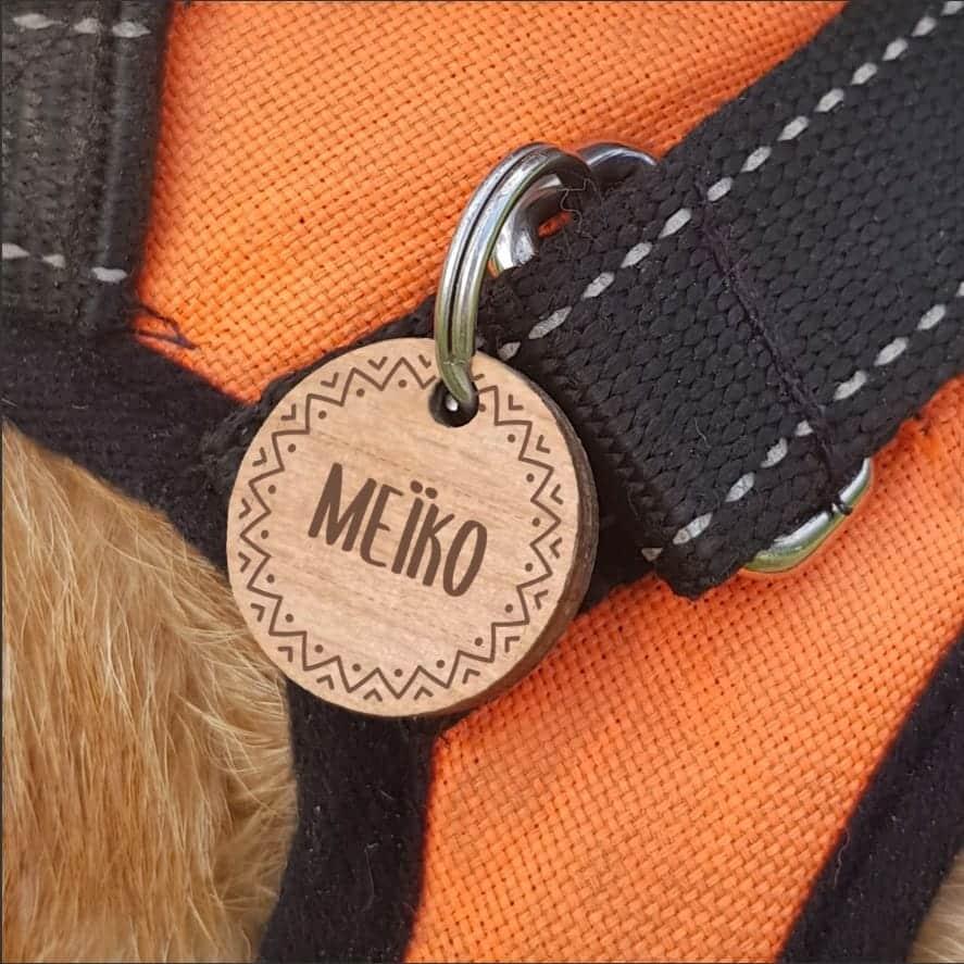 Médaille en bois personnalisable pour chien et chats