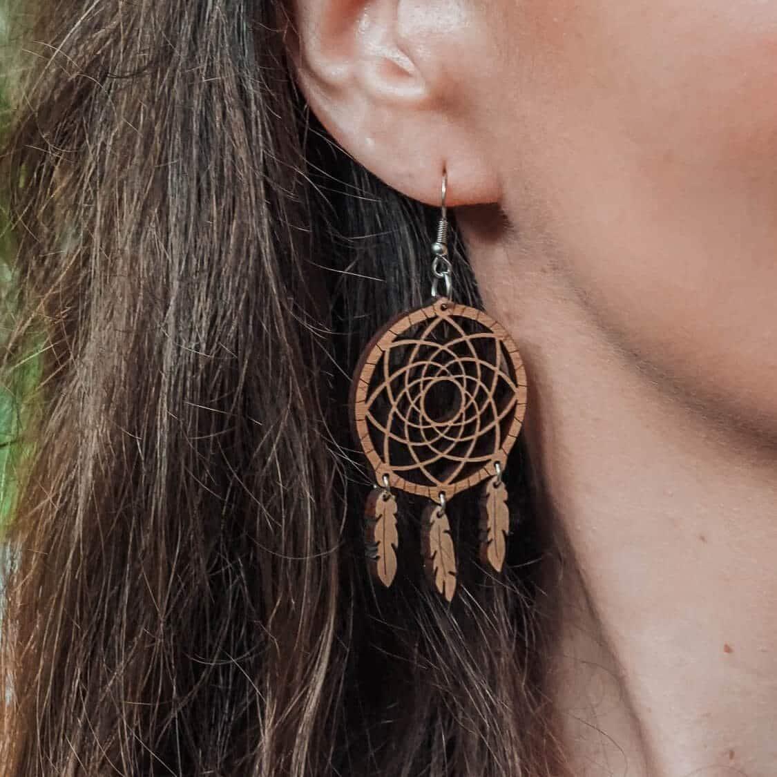 Boucles d'oreilles en bois Borêv inspirée des attrape rêves