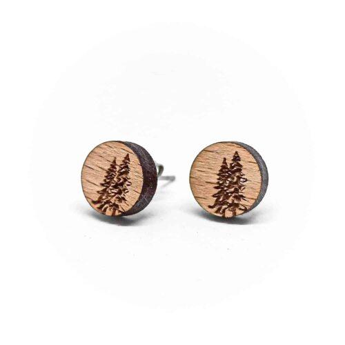 Clous d'oreilles en bois Pinver sur le thème sapin