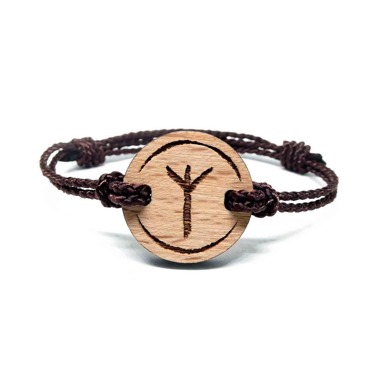 Bracelet en bois rune viking algiz