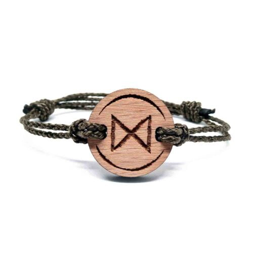 Bracelet en bois rune viking dagaz