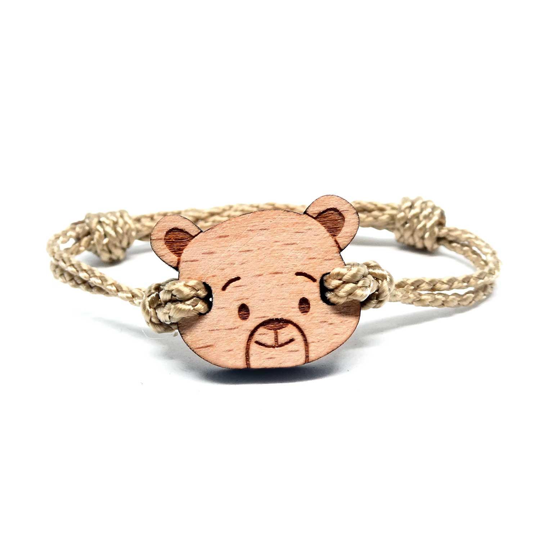 Bracelet en bois pour enfant ourson