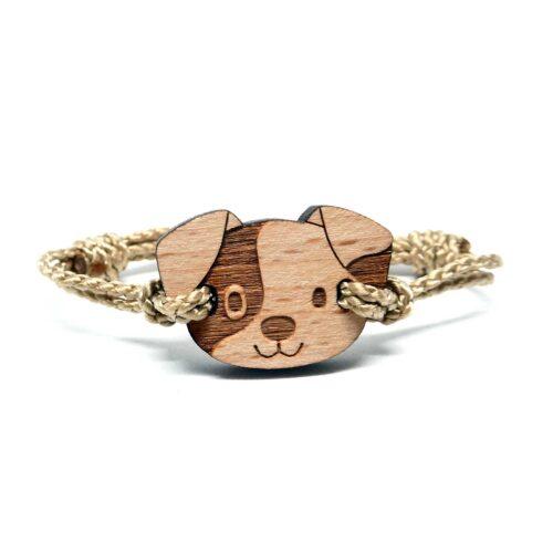 Bracelet en bois pour enfant chien