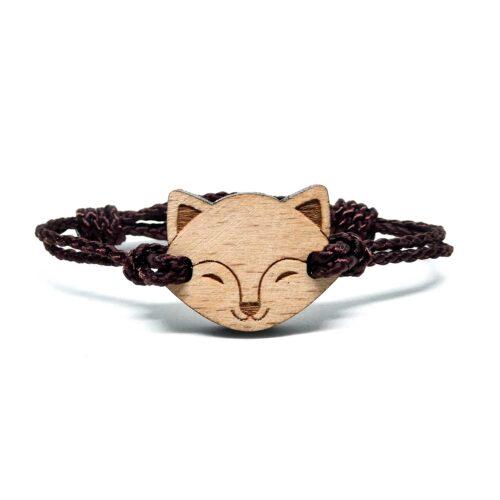 Bracelet en bois pour enfant renard