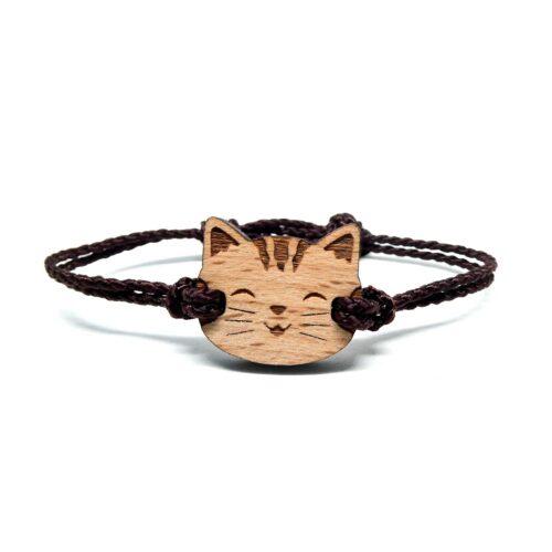 Bracelet en bois pour enfant chat