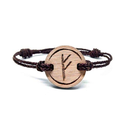 Bracelet en bois rune viking fehu