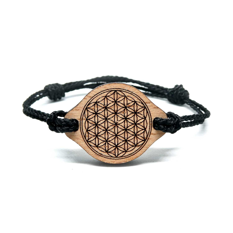 Bracelet en bois fleur de vie