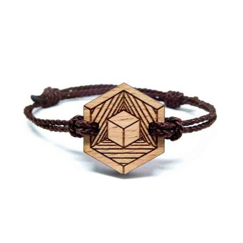 Bracelet en bois cube geometrique