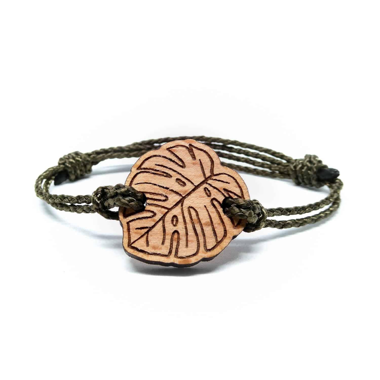Bracelet en bois feuille tropicale
