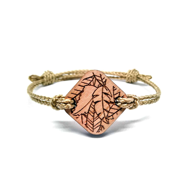 Bracelet en bois feuilles