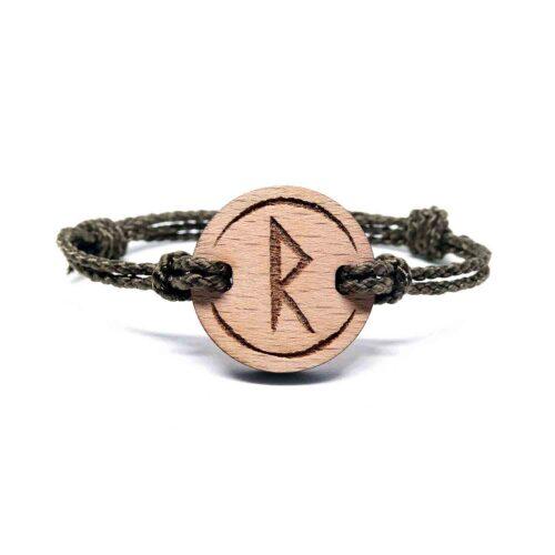 Bracelet en bois rune viking raidho