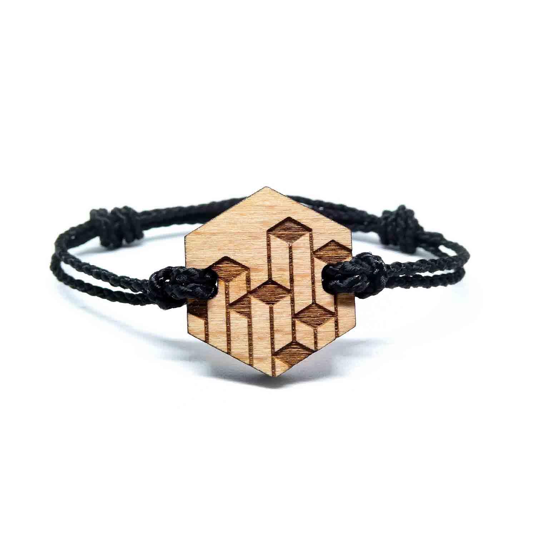 Bracelet en bois geometrique steyrs