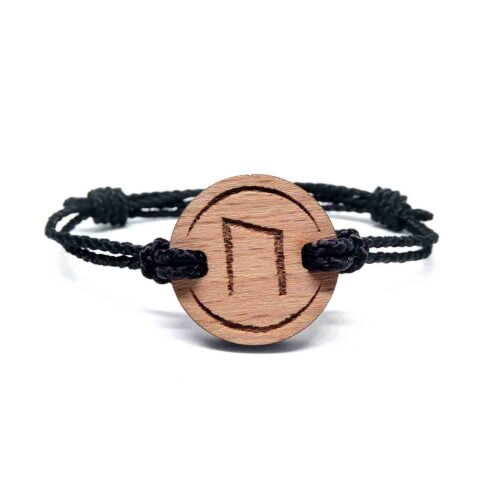 Bracelet en bois rune viking uruz
