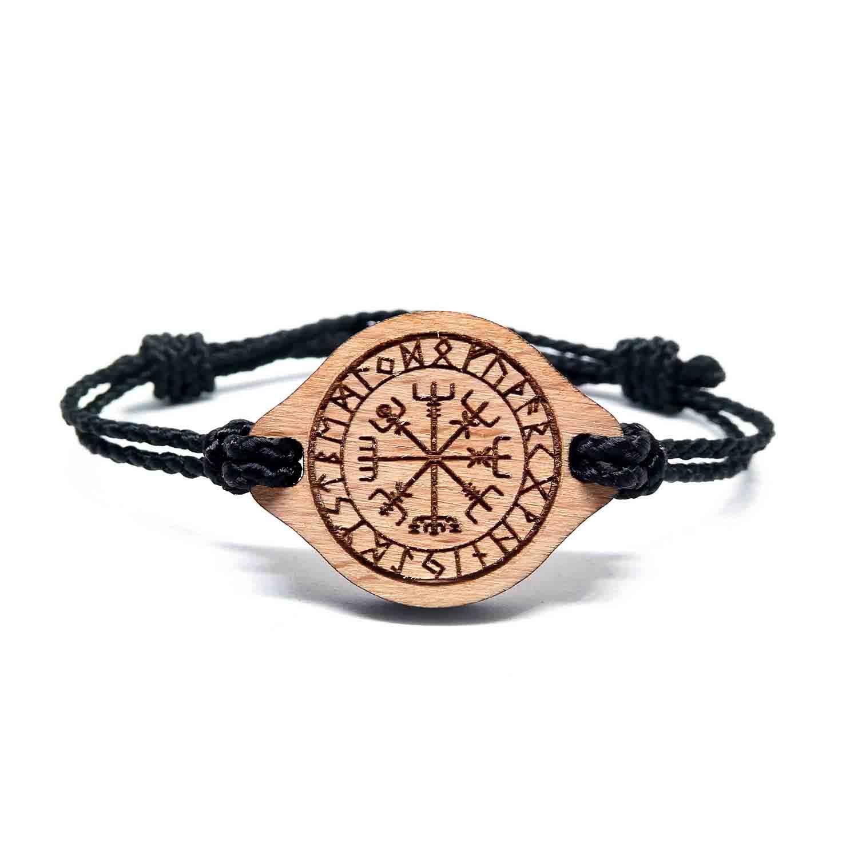 Bracelet en bois viking Vegvisir