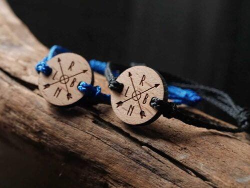 Bracelet en bois personnalisable pour couple