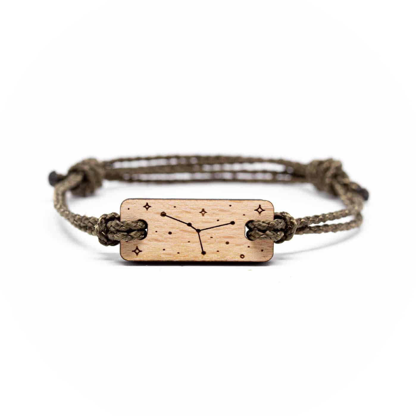 Bracelet en bois signe astrologique cancer