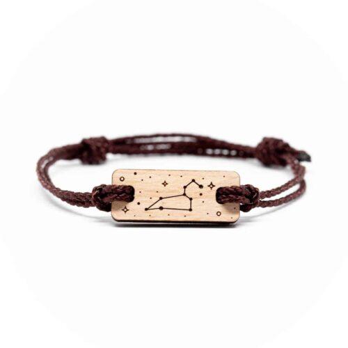 Bracelet en bois signe astrologique lion