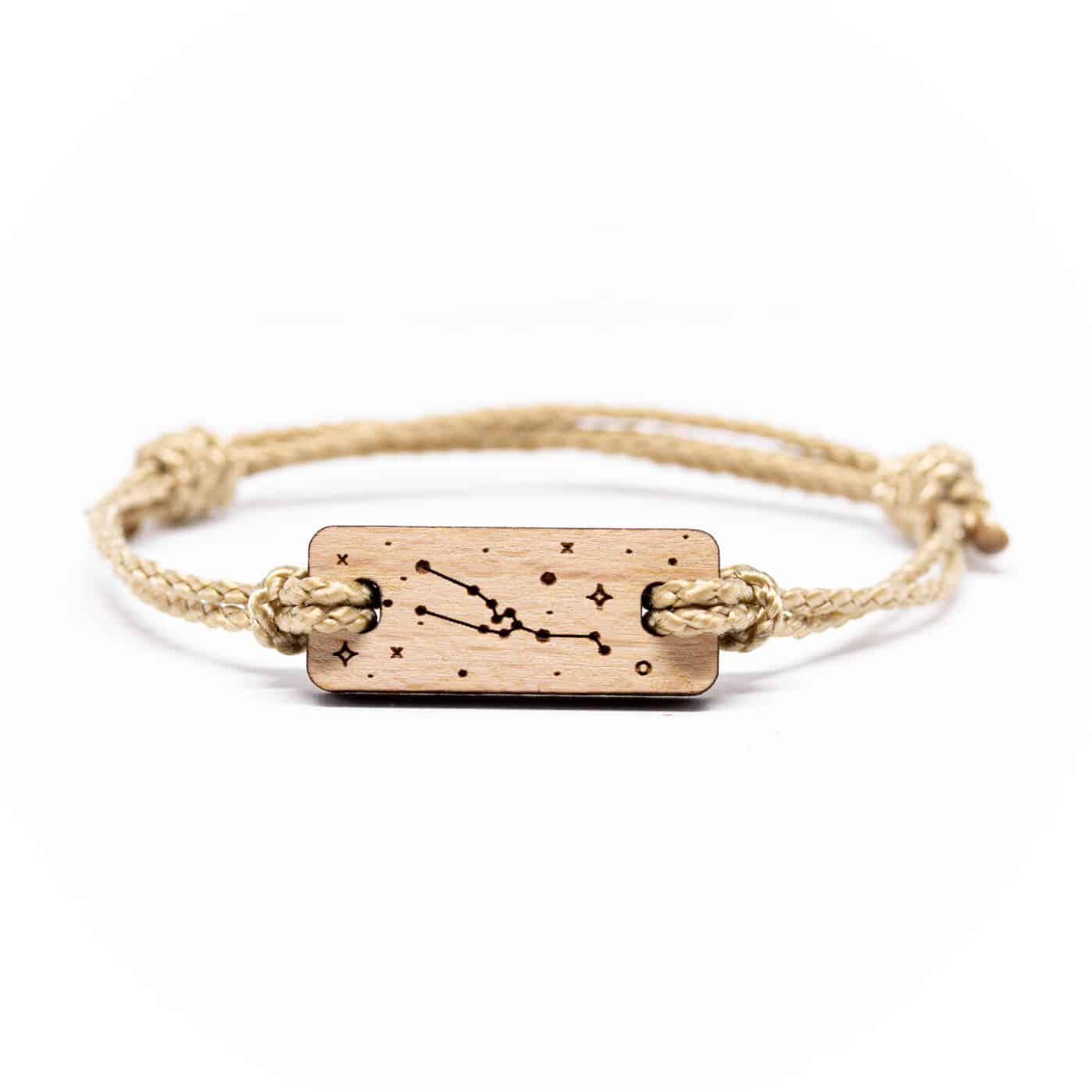 Bracelet en bois signe astrologique taureau