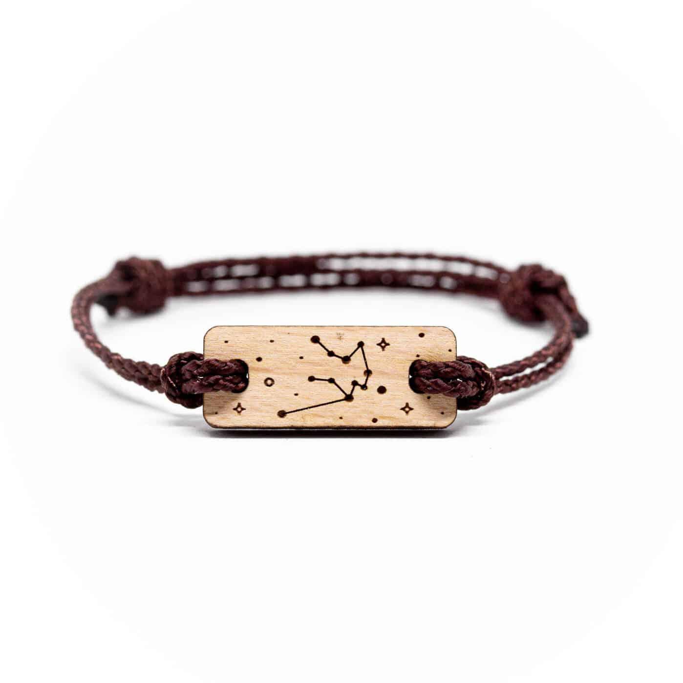 Bracelet en bois signe astrologique verseau