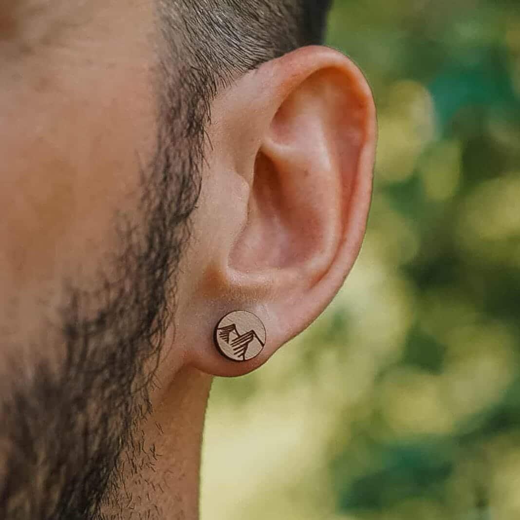 Clou d'oreille en bois Pic au motif de montagne